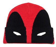 MARVEL COMICS DEADPOOL BIG FACE MASK CUFF BEANIE HAT KNIT CAP WINTER RED BLACK