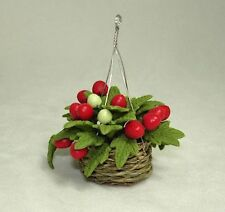 Dollhouse Miniature Tomato Plant Woven Hanging Basket Miniatures for Doll House