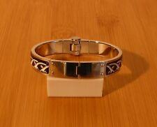 Hermes Armreif SP 0145 Clic Schwarz Silber 13 mm breit. Original. Gebraucht.