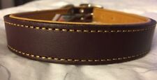 New Circle T Coastal Pet Products Premium Brown/Yellow Leather Dog Collar 22