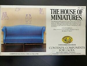Xacto The House Of Miniatures Chippendale Sofa Dollhouse Kit 40015 Complete