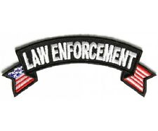 "(H1) LAW ENFORCEMENT 4"" x 1.5"" iron on Rocker patch (3685) American Flag"