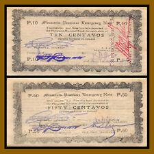 Philippines 10 50 Centavos (2 Pcs Set), 1942 P-S592/S594 Emergency WW II Cir