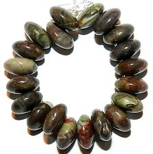 NG2575 Brown & Green Sierra Agate 10mm Top-Drilled Flat Round Rondelle Bead 20pc
