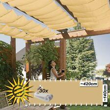 Seilspannmarkise sand ca 420x140 cm Sonnensegel Wintergarten Beschattung Pergola
