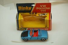 VINTAGE DINKY TOY CAR VW PORSCHE 914 #208 BLUE CONVERTIBLE WITH ORIG BOX ENGLAND
