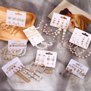 Fashion Rhinestone Crystal Boho Tassel Pearl Earrings Set Women Ear Stud Jewelry