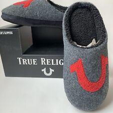 True Religion Men's Gray Red Soft House Slippers Size Small 7-8 NIB