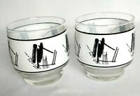 """Set Of 2 Juice Cocktail Glasses Retro Footed 3 1/4"""""""