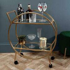 LARGE 2 Tier Round Drinks Trolley Art Deco Style Gold BRAND NEW & BOXED