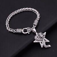 Vintage Amulet Nordic Viking Dragon Pentacle Pentagram Spiritual Animal Bracelet
