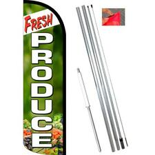 FRESH PRODUCE (Green/White) Premium Windless-Style Feather Flag Bundle 14' OR Re
