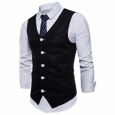 Mens Cotton Linen Vests Sleeveless Slim Suit Business Wedding Formal Waistcoats