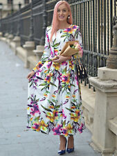 NEW Long Sleeve Pink Yellow Purple Green Floral Print Pleated Flare Maxi Dress M