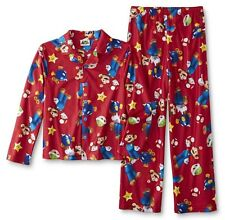 NEW Super Mario Pajamas Boys Size 6/7 Red Winter Set Nintendo Gamer Video Game S