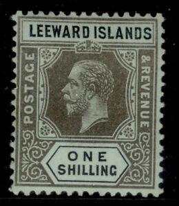 LEEWARD ISLANDS GV SG54b, 1s black/ blue-green (olive), M MINT. Cat £18.