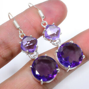 Faceted African Amethyst Handmade 925 Sterling Silver Jewelry Earring  VIE-615