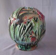 Old Globe Shaped Majolica Pottery Lamp Shade w Underwater Motif / Fish