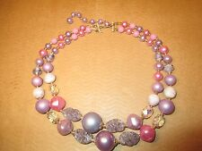 "Vintage 2 Strand Necklace ""Shades of Purple, Pink & Bluish Purple"" Glass Crystal"
