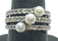 Sterling Silver 925 Triple White Pearl - CZ Pave Split Band Cocktail Ring Size 6