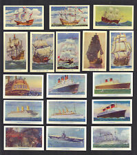 Cigarette Cards. R.J.Hill Tobacco. Famous Ships. (1940). (Complete Set of 50).