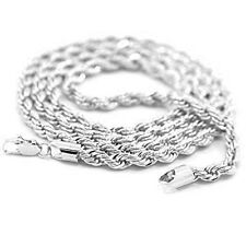Mens 14K White Gold Plated 24in Rope Chain Necklace 4 MM