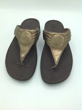 New Women FitFlop Walkstar Crackle Leather Bronze US Size 11
