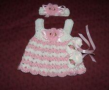 Handmade CrochetOutfit,Shoes Dress Headband, Micro Preemie  RockyMountainMary.