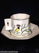 COIMBRA PORTUGAL CUP & SAUCER RED HEADED YELLOW BIRD W GREEN BRANCH  BUDS EXOTIC