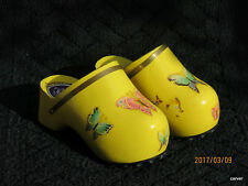 Rare Vintage Famolare Amsterdam Clogs Yellow Patent Butterfly Decals Size 6-7