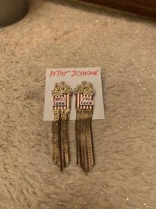 NWT - Betsey Johnson Popcorn Pierced Fringe Earrings