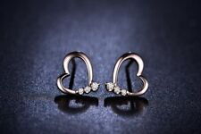 14k Rose Gold Over 0.12ct Round Cut Diamond Heart Stud Earring For Women