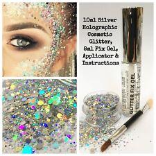 Festival Party Glitter Kit - Fix Gel + Chunky Mix Glitter - Face skin body eyes