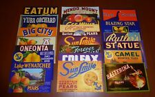 20 DIFF FRUIT BOX PEAR CRATE LABELS VINTAGE LOT ADVERTISING NOS 1930S 40S 50S 60