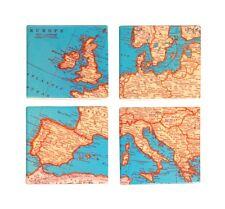 Sass & Belle Ceramic Cork Vintage Map Coaster Set of 4