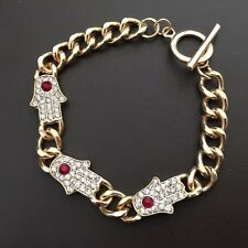 HOT NEW GOLD PLATED FATIMA HAMZA CLEAR/RED CRYSTALS CHAIN BRACELET 8""