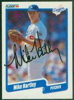 Original Autograph of Mike Hartley of the Los Angeles Dodgers on a 1990 Fleer