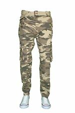 Men Belted Cargo Pants Skinny Slim Fit Army Camo Colored 8 Pocket 9 Colors 30-44