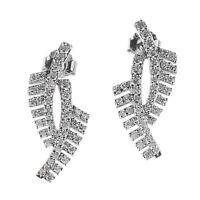 Damen Ohrstecker echt Silber 925 Sterling rhodiniert Zirkonia lange Ohrringe