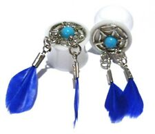 """PAIR-Dream Catcher w/Blue Feathers Acrylic Double Flare Plugs 14mm/9/16"""" Gauge B"""