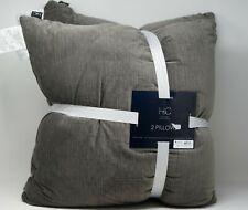 "Hallmart Collectibles (HMC) Velvet 20"" Square PAIR of Decorative Pillows - Gray"