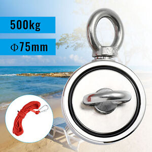 500kg Strong Neodymium Salvage Magnet Double Side 10M Rope Fishing Treasure
