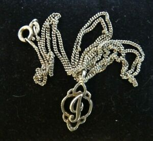 "Vintage Silver 925 Necklace with ""J"" Pendant."