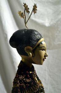 GAMBYONG Beautiful OLD elegant court dancer Wayang Golek Wooden Puppet from JAVA