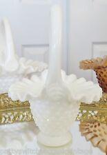 "FENTON Art Glass Vintage Milk Glass Hobnail 4 1/2"" Basket #3834"
