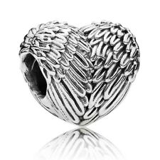 "Genuine Pandora Silver Charm ""Angelic Feathers"" Heart- 791751 - retired"