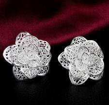 Hot Beautiful Fashion 925 Sterling Silver Plated Women Rose Flower Stud Earring