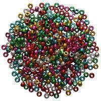 Pony Beads Plastic Metallic Mixed Colours Barrel Craft Hair Braiding 500