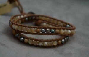 NEW Chan Luu Pearl Mother of Pearl Semi Precious Stone Mix 2 Wrap Bracelet