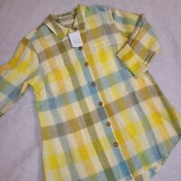 Soft Surroundings Linen Button Down Shirt Tunic Adjustable Sleeves Plaid NWT